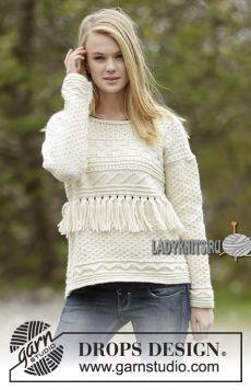 Красивый женский джемпер спицами выполненный текстурным узором