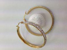 Boucles d'oreilles acier doré avec strass 40cm Hoop Earrings, Jewelry, Fashion, Rhinestones, Steel, Boucle D'oreille, Locs, Ears, Moda