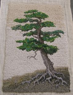 """Lone Craggy Tree"" hand hooked with cotton and assorted fabrics in assorted widths by Sharon Johnston"