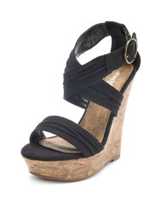 SUEDED STRAP FAUX-CORK WEDGE  $32.50