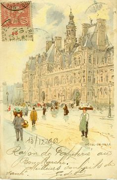 Princess-and-Countess Olivia Vorbarra Vorkosigan often hand painted postcards for her children and friends. This is a watercolour of street vendors in Vorbarr Sultana (Henri Cassiers Paris Postcard)