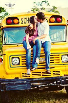 Fun School Bus Engagement Session - Concept Photography
