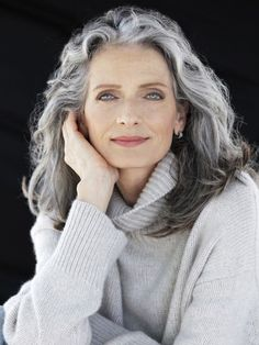 Hair, grey hair over long gray hair, silver grey hair, curly gray Grey Hair Old, Grey Hair Over 50, Grey Curly Hair, Long Gray Hair, Grey Wig, Curly Hair Styles, Natural Hair Styles, White Hair, Grey Hair Natural
