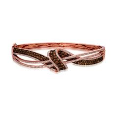 Bangle bracelet with beautiful Chocolate and vanilla diamonds LeVian. Marshall Jewelry