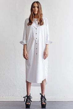A great white shirtdress, I particularly love the black buttons.
