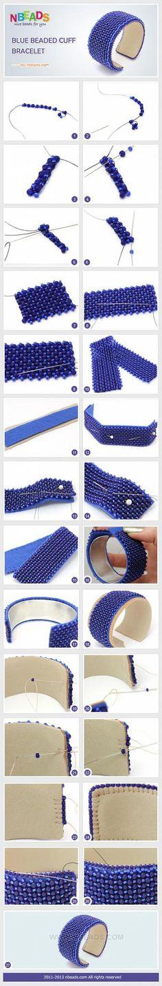 Blue Beaded Cuff Bracelet – Nbeads