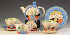 Clarice Cliff 'Appliqué Idyll' Bonjour Tea for Two/Early Morning Set, Vintage Dishware, Vintage Pottery, Pottery Art, Vintage Kitchen, Art Nouveau, Teapots And Cups, Teacups, Clarice Cliff, Ceramic Shop