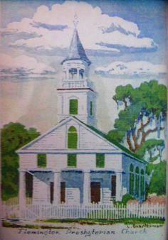 Flemington Presbyterian Church....  Painting by L. Quarterman