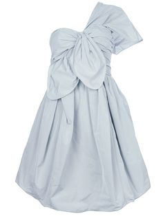 CARVENLight grey one shouldered taffeta dress
