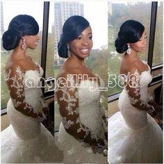 2015 HOT Sexy Mermaid White/Ivory Wedding Dress Bridal Gown Custom Plus Size2-28