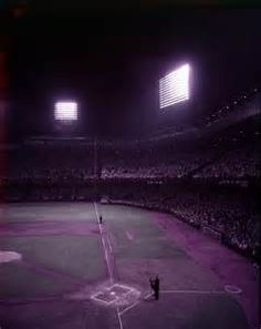 Night time view of the diamond at Tiger Stadium (then Briggs Stadium), circa On this day in the final game at Tiger Stadium was played. Baseball Park, Detroit Tigers Baseball, Tiger Stadium, Cultural Events, Historical Photos, Wonderful Places, Night Time, Vintage Photos, Cool Pictures