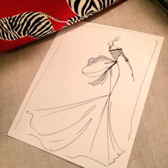 Sketch by Christian Siriano: silk stripe two-tone gown. Sketch prints are available at our online store www.christiansiriano.com #cssketch