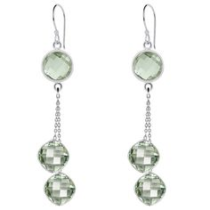 Orchid Jewelry 16.00ct Genuine Green Amethyst Sterling Silver Earring