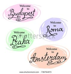 Calligraphy collection: Madrid, Paris, London, Berlin. Hand-lettering city names. City emblems illustration