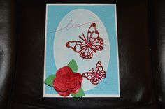 Wedding card used McGill flower punch for paper rose and Spellbinders die for butterflies used brides colors.