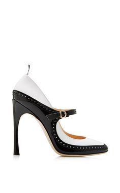Patent-Leather Mary Jane Spectator Pumps
