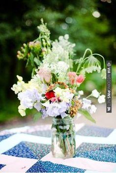 wildflower jam jar (The Nichols - Amy & Greg)   CHECK OUT MORE IDEAS AT WEDDINGPINS.NET   #weddings #weddingflowers #weddingbouquets #bouquets
