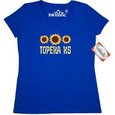 Inktastic Topeka Kansas Sunflower State Women's V-Neck T-Shirt Sunflowers Pride Home Hometown Cities City Travel Cute Clothing Apparel Tees Adult Hws, Size: XXL, Blue