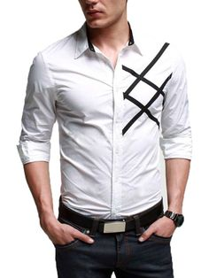 White Casual Shirt with Stylish Side Strips