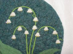 Wool Felted Hotpad/Trivet with Needle Felted Lily of by Susietoos
