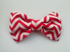 Red chevron fabric hair bow red hair bow chevron by GabeAndJuju