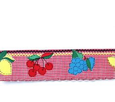 Vintage Red Blue Yellow and White Check Kitchen Fruit Shelf Paper Border