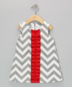 Look what I found on #zulily! Gray & Red Zigzag Frill Dress - Infant & Toddler #zulilyfinds