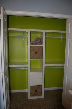 space maximizing closet idea - using ikea expedit & wall shelving