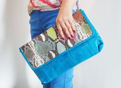 BASIC OVERSIZE  Neon Blue Turquoise with Handpainted by linmade