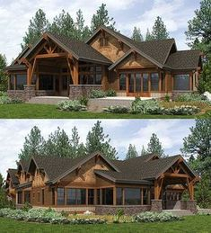 High End Mountain House Plan with Bunkroom Covered outdoor living room in back of Architectural Designs Mountain House Plan Ready when you are.Covered outdoor living room in back of Architectural Designs Mountain House Plan Ready when you are. Craftsman House Plans, New House Plans, Dream House Plans, Craftsman Ranch, Log Home Floor Plans, Rustic House Plans, Lake Home Plans, Ranch Home Plans, Craftsman Style Houses