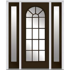 Milliken Millwork 64.5 in. x 81.75 in. Classic Clear Glass Round Top Full Lite Painted Majestic Steel Exterior Door with Sidelites, Brown