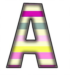ArtbyJean - Paper Crafts: STRIPES IN COOL COLORS on a SET OF ALPHABETS A to Z Clipart to cut and past on your paper crafts - For digital arts, collage, crafts, decoupage, cards and scrapbooks.