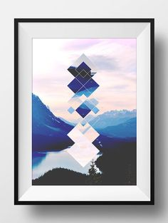 Abstract Landscape Scenic Art Print Poster Diamond Geometric