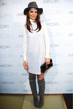 Katie Holmes in head-to-toe Marc Cain: long-sleeve turtleneck dress with olive green over-the-knee boots