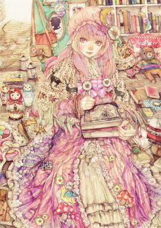 Reminiscent of a children's book illustration from the turn of the last century. Note the matryoshka dolls on the left. Anime Art Girl, Manga Art, Manga Anime, Anime Girls, Fanart, Anime People, Beautiful Anime Girl, Anime Kawaii, Anime Artwork
