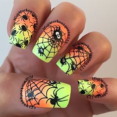 Spiders & Spiderwebs polishes used #colorclub Nit-so-mellow yellow, Foxy mama, #mundodeunas black-2 stamping plate used #uberchicbeauty Halloween-1