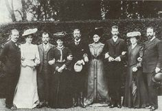 1903, photograph taken after the marriage of Princess Alice to Prince Andrew of Greece of Grand Duke Ernest Louis of Hesse and by Rhine with 4 of his sisters and their husband. From l to r: Ernest, Alexandra and Nicholas of Russia, Irene and Henry, Elisabeth and Sergei, and Victoria and Louis of Battenburg.
