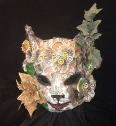 Handmade Designer masks, flower #fox, lace and paper animal #mask, fursona fun silly larp party wear. child ooak carnival wear, green man costume, handmade cool animal kitsune cosplay unique fox energy spirit play by CrookedCrowMasks on Etsy designed and created by crooked crow masks in homer, alaska in 2017
