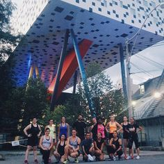 Short route group photo just before a much needed water break. Hot summer nights! || #nightterrorsrun by nightterrorsrun