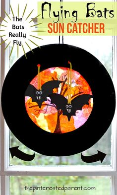 Paper plate swinging flying bats sun catcher - Halloween arts & crafts for kids.