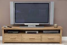 Opus Solid Oak Wide Plasma TV Unit