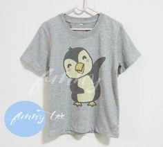 Penguin boy cartoon Crew neck sweatshirt Short sleeve tee