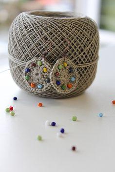 Ravelry: Beadazzling Beaded crochet earrings pattern by Natasja King from the book Crochet Pretty