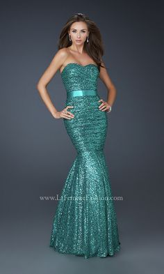Long Strapless Sequin Mermaid Gown LF-17080