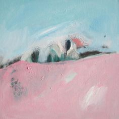 Oil painting, landscape painting, pink, blue, abstract painting, modern painting. $140.00, via Etsy.