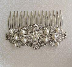Wedding hair comb Crystal Silver hair by MissJoansBridal on Etsy
