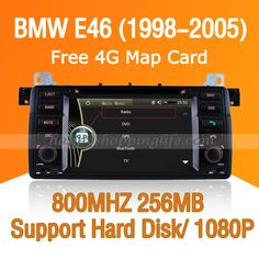 BMW E46/ BMW M3 Car DVD player, GPS navigation system with dual zone function, 800Mhz high frequency, 7 inch full HD touch screen 800 x 480, Digital TV ATSC M/H, Bluetooth car kit for hands free calling, Radio, USB port, SD card slot, IPOD ready, CAN Bus to support steering wheel controls, support 1080P HD video, support hard disk 500G and MP5