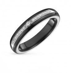 Кольцо с 1 бриллиантом,  карат;  керамика; Серебро 925 пробы. 31269