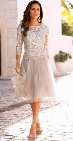 cff55c5a1fc Mother of the Bride  Lace Over Tulle Dress with Three Quarter Illusion  Sleeves