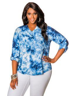 bf9f7347d21 Tie Dye Tencel Popover Tunic. Fashionable Plus Size ClothingTunics Online Womens ClosetAshley StewartMandarin CollarCute TopsPlus ...